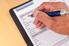 Filling Out Personal Information Stock Image