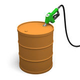 Filling petrol barrel. Fuel nozzle pumping fuel into petrol barrel,  on white background Stock Images