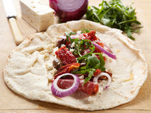 Filling Pitta Bread Royalty Free Stock Photography