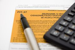 Filling in polish tax form Stock Image