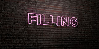 FILLING -Realistic Neon Sign on Brick Wall background - 3D rendered royalty free stock image Stock Photos