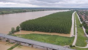 Filling sandbags to stop floods stock video footage