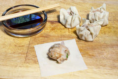 Filling Shu Mai Dumplings Royalty Free Stock Photography