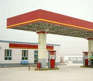 Filling station. Of the red building Stock Photography