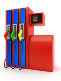 Filling station. Red petrol pump on white background Royalty Free Stock Photo