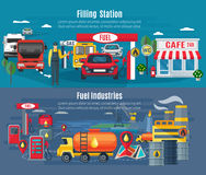 Filling Station Banners Set. Filling station horizontal banners set with cars trucks and cafe flat isolated vector illustration Stock Photography
