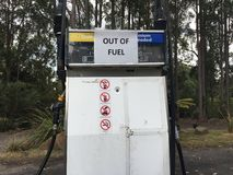 Filling station out of fuel. The Australian government has ordered fuel security after experts warned the country only has weeks of petrol supplies left in its stock photo