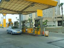 Filling station. petrol station. gas station. Car for fuel in a service station. Filling station fuelling station garage, or gasbar, gas station, petrol pump Stock Photos