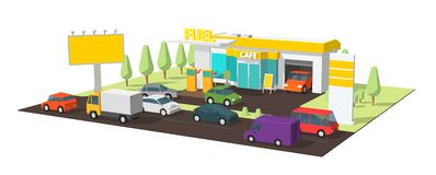 Filling station. Refilling fuel, motorway road shop, repair service. Petroleum gas station and cars. Petrol tank stock photo