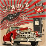 Filling station retro poster. The filling station retro poster Stock Photography