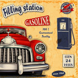 Filling station retro poster. The filling station retro poster Royalty Free Stock Photos