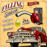 Filling station retro poster. The filling station retro poster Stock Photos