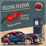 Filling station retro poster. The filling station retro poster Royalty Free Stock Photography