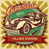 Filling station retro poster. Gasoline since 1953 filling station Royalty Free Stock Images
