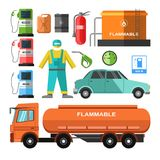 Filling station template with necessary equipments set on white. Filling station template with necessary equipments collection on white. Vector colorful poster Stock Images