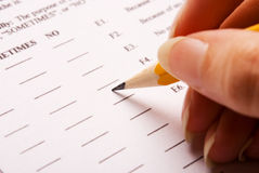 Filling a test form Royalty Free Stock Image