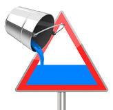 Filling a traffic sign. 3d generated picture of a filling concept Stock Photos
