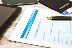 Filling Travel insurance claim form Stock Photography