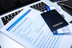 Filling a Travel insurance claim form Royalty Free Stock Photo