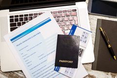 Filling a Travel insurance claim form Royalty Free Stock Image