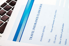 Filling a Travel insurance claim form Royalty Free Stock Images