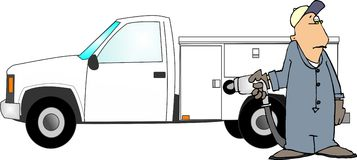 Filling a truck with gas. This illustration that I created depicts a man in coveralls putting gasoline in a work truck vector illustration