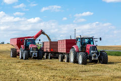Filling the truck with wheat seeds Royalty Free Stock Images