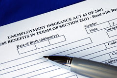 Filling the unemployment insurance application Stock Photo