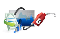 Filling up the economy with a gas pump nozzle Royalty Free Stock Photography