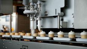 Filling of wafer cups with ice cream. Ice cream production line. Vanilla ice cream. Ice cream production line.  stock footage