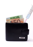 Filling the wallet with money Royalty Free Stock Image
