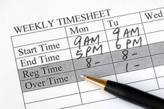 Filling the weekly time sheet Stock Photo