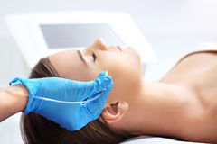 Filling wrinkles, the treatment of aesthetic medicine. Stock Photo
