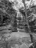 Fillmore Glen State Park Waterfall Black och vit arkivfoton