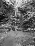 Fillmore Glen State Park Waterfall Black och vit royaltyfria foton
