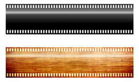 FIlm. Ribbons, black and wooden textures. Illustration Royalty Free Stock Photo
