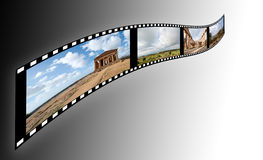 Film. With pictures of the Valley of the Temples in Sicily on a soft background royalty free stock photo