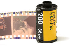 Film. 35 mm with negative roll out stock photography