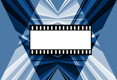 Film. Stripes bllue and film background, blank white frames Stock Photos