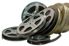 Film, 16mm, 35mm, cinema. Banks with old films 16мм which were going to throw out as become outdated Stock Photography