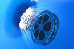 Film. The film, burst through the wall. Hi-res digitally generated image Royalty Free Stock Images