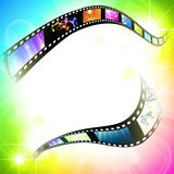 Film. Frame with different subjects over multicolored background, copyspace Stock Image