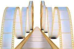 Film. Golden film reel. isolated on white Stock Images