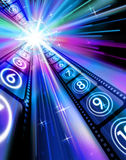 Film. Strips Sparkling Starburst Blue Hues Black Background Vertical Format stock illustration