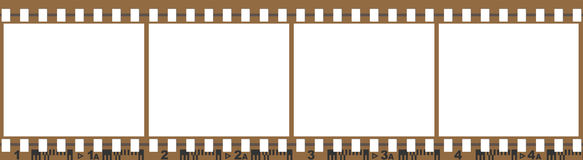 Film with 4 blank images. Isolated on a white background Royalty Free Stock Photos