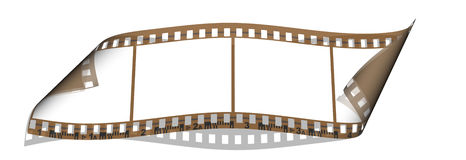 Film with 4 blank images isolated on a white. Background Stock Images