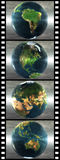 Film with 4 images of the earth. Isolated on a white background Royalty Free Stock Photo
