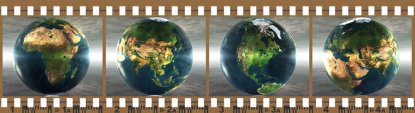 Film with 4 images of the earth. Isolated on a white background Royalty Free Stock Photos