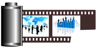 Film. Illustration of business film, blue Stock Photo