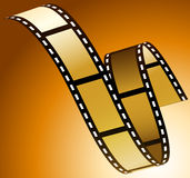 Film. Illustration of film strip on golden background Royalty Free Stock Photo